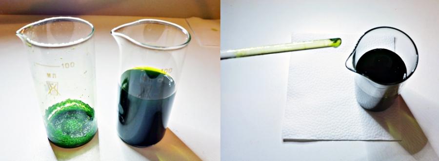 На фото видно, как раствор кристаллизуется на стеклянной палочке